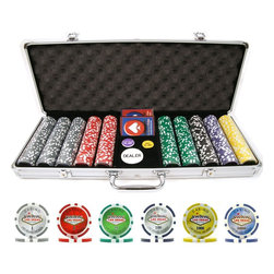 """Trademark Poker - 500 Pc Clay Laser Las Vegas Chip Set w Alumin - Set includes:. Aluminum case. 500 Pieces chips. Casino-sized 2 in. Dia. Dealer Button. 1.25 in. Dia. game buttons: Big Blind and Little Blind Button. Trademark Poker brand casino quality cards. 1 Blue deck and 1 Red deck of cards. 2 Keys for the locking clasps to secure your investment. Case is heavy duty lightweight aluminum outside. Interior is wood structure Black felt lined. Holds pre-selected chips, decks of cards and 3 poker buttons. The exterior is also covered with lined aluminum, giving the case the appearance of a top secret attache case. Plastic coating for playing cards makes these very easy to clean. Overall dimensions: 21.75 in. L x 9.25 in. W x 3.25 in. H (23 lbs.)These chips are casino-sized and weigh 15 grams each and come in 9 colors. Features: 9 Colors/Denominations: Gray-1, Red-5, Green-25, Black-100, Purple-500, Yellow-1000, Orange-5000, Blue-10,000, Pink-25,000. High quality clay construction Heavy, 15 gram chip laser etched """"Las Vegas Nevada"""" color inlay that matches chip's edge inserts Casino quality Ideal for home Poker and Blackjack games. The weight and feel of the chips make them distinctly different from all other chips found on the market today. These chip cases will offer the most protection for your investment. This is the chip case that will last a lifetime. Keep the game moving with the perfect button set!"""