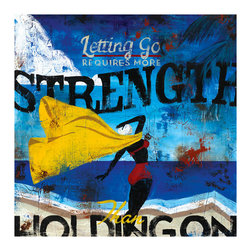 ESTUDIO39 - 'Real Strength' Canvas Art, 18x18 - The bold blues and contrasting gold and red allow this piece to stand out in any room; a perfect beach oasis for any home.  The inspirational message of strength within is fitting for any season.
