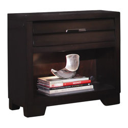 Pulaski - Pulaski Tangerine 330 Nightstand in Sable Finish - Pulaski - Nightstands - 330140 - The Pulaski Tangerine 330 collection combines extraordinary functionality and design at a surprisingly affordable price. Smokey nickel hardware serves as jewelry to the concave and louvered drawer fronts. Each feature rich piece is designed to appeal to the younger generation�s need for gadget charging media consumption and entertaining. Pieces also serve multiple functions for future use.