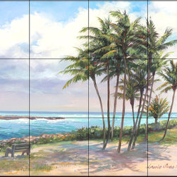 The Tile Mural Store (USA) - Tile Mural - Palm Beach - Kitchen Backsplash Ideas - This beautiful artwork by Laurie Snow Hein has been digitally reproduced for tiles and depicts a colorful southern beach.  Beach scene tile murals are great as part of your kitchen backsplash tile project or your tub and shower surround bathroom tile project. Waterview images on tiles such as tiles with beach scenes and sunset scenes on tiles.  Tropical tile scenes add a unique element to your tiling project and are a great kitchen backsplash  or bathroom idea. Use one or two of our beach scene tile murals for a wall tile project in any room in your home for your wall tile project.