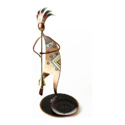 PS - 11.5 Inch Colorfully Melded Metallic Dancing Kokopelli Candle Holder - This gorgeous 11.5 Inch Colorfully Melded Metallic Dancing Kokopelli Candle Holder has the finest details and highest quality you will find anywhere! 11.5 Inch Colorfully Melded Metallic Dancing Kokopelli Candle Holder is truly remarkable.