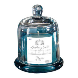 """Apothecary Guild Scented Candle with Glass Dome - Pacific Blue, 4"""" X 4"""" X 5.75"""" - A delightful vessel that is reminiscent of old world apothecary jars from Europe is combined with a sweet Thistle aroma that is both light and inviting. The candle is topped with a glass dome that adds an element of interest and loveliness to the piece."""