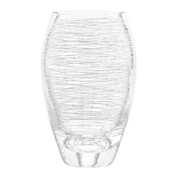 Qualia - Graffiti Hard Ball Glasses, Set of 4 - Create a sleek, polished look in your kitchen with these unique Graffiti Hard Ball Glasses. Their tall shape makes these glasses perfect for drinking specialized liquor beverages. Featuring clear glass with fiber-like interior etchings, the glasses are simple and striking. Holds 18 ounces of liquid. Dishwasher safe.