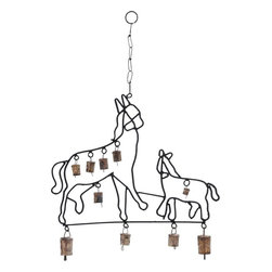 Benzara - Durable Design Metal Horse Wind Chime - Bring a rustic charm into your home, office or any other space with the Metal Wind Chime with Horse Design. Flaunting a beautiful metal design that features prancing horses in their full glory, it speaks volumes of your rich and classy taste. These horses themselves look authentic with an almost handcrafted design. This wind chime features a series of bells attached to its metal frame that tinkle and emit a soft acoustic melody while swaying to the breeze. These mild, subtle sounds have a calming effect on the mind and help create a soothing environment. It is totally rustproof and withstands atmospheric effects like humidity, rain and intense heat. Due to the durable and strong metal links and chain, you can easily hang this wind chime up in your balcony or window and earn many generous glances and words of admiration..