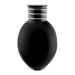 Maison Alma - Arienne Egg Vase, Black & Platinum - This graceful porcelain vase was handcrafted in Portugal in the traditional Limoges style. The lustrous glaze is accented by bands of 24-karat gold or platinum at the throat and base, adding an extra touch of luxury.