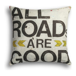 "Carrier Collective - ""All Roads Are Good"" Decorative Pillow - Crafted of linen/cotton fabrics, Carrier Collective Art Pillows are created from the original Mixed Media and Acrylic Paintings of the artist/owner Angie Carrier."