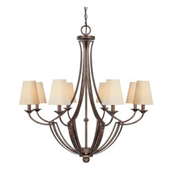 Capital Lighting - Capital Lighting Soho Transitional 8-Light Chandelier X-425-TR8334 - This chandelier is an eye-catching piece with its magnificent metalwork. The Capital Lighting Soho Transitional chandelier features decorative fabric shades casting an elegant glow to the room. The rustic finish gives the chandelier a traditional touch. This rustic chandelier is a great accent for any types of living space.