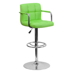 "Flash Furniture - Green Quilted Vinyl Adjustable Height Bar Stool with Arms and Chrome Base - This sleek dual purpose stool easily adjusts from counter to bar height. The simple design allows it to seamlessly accent any area in the home. Not only is this stool stylish, but very comfortable to provide you with an amazing sitting experience! The easy to clean vinyl upholstery is an added bonus when stool is used regularly. The height adjustable swivel seat adjusts from counter to bar height with the handle located below the seat. The chrome footrest supports your feet while also providing a contemporary chic design. Counter Height or Bar Stool; Green Vinyl Upholstery; Quilted Design Covering; Comfortable Seat with Mid-Back; Chrome Arms; Swivel Seat; Height Adjustable Seat with Gas Lift; Foot Rest; Chrome Base; Base Diameter: 19.5""; CA117 Fire Retardant Foam; Designed for Residential Use; Overall dimensions: 20""W x 18""D x 36.75"" - 45.25""H"