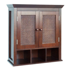 Elegant Home Fashions - Wall-Mount Medicine Cabinet w Cane-Woven Door - Espresso finish. Made of MDF and reddish brown. Features hand-woven reddish brown panels. Great for use in all bathrooms. 22.5 in. W x 8.5 in. L x 24 in. H