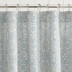 """Sammie Tile Shower Curtain, Porcelain Blue - Printed with an antique Turkish tile motif, this shower curtain is an elegant update for the bath. 72"""" square Woven of a cotton/linen blend. Machine wash. Imported."""