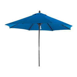 None - Premium 9-foot Round Pacific Blue Wood Patio Umbrella - Stay warm and dry in the heaviest rainstorm with this Pacific blue wooden patio umbrella. A sturdy wooden handle and frame topped with brightly colored polyester protects you from moisture as well as the sun with convenient full UV protection.