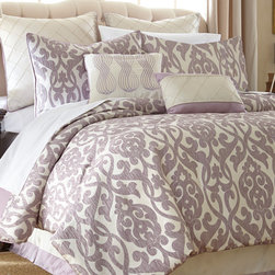 None - Azlin Floral Damask 8-piece Comforter Set - Transform your bedroom into a resort oasis with this beautiful comforter set from Azlin. Complete with eight different pieces,the shams,bedskirt,deco pillows and Euro shams are made to coordinate with the elegant jacquard-print comforter design.