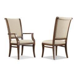 Hooker Furniture - Hooker Furniture Set of 2 Classique Upholstered Arm Chair 5067-75500 - Soft edges. Artful curves. Beveled turnings. Classic becomes fresh through design details and a beautiful medium chestnut colored finish on primavera veneers in the Classique collection. Includes Hooker Furniture Set of 2 Classique Upholstered Arm Chair 5067-75500 only.
