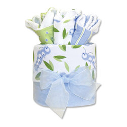 "Trend Lab - Gift Cake - Caterpillar Blanket - Trend Lab's Gift Cake is the perfect shower centerpiece and a practical gift for any mom to be. Gift set contains one blanket and three bibs. Blanket features tonal blue caterpillars and green leaf accents on a crisp white cotton background with soft blue velour on the reverse. Bibs each have fun, modern printed cotton on the front with terry on the back. Bib patterns include: blue caterpillar with green leaves print, blue and green dot print and blue and green stripe print. Blanket measures 30"" x 40"" and bibs 9"" x 13"". Blanket is wrapped around all three bibs to resemble a cake with topper and packaged in clear cellophane with ribbon and gift tag."