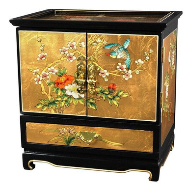 Oriental Furniture - Empress Lacquer Jewel Box (Gold Leaf) - This elegant lacquered jewelry box was handcrafted by artisans in the Guangdong province of mainland China. The excellence of their craft is evident in the delicate, hand-painted garden scene on gold leaf, the carefully fitted carpentry, and the rich, smooth lacquer finish. The doors open to reveal four additional felt lined drawers and hooks for hanging your pendants and necklaces.