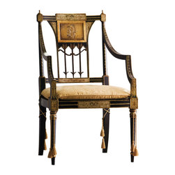 "Inviting Home - Sheraton Armchair - Hand-painted Sheraton style armchair with antiqued black and gold finish cane seat and upholstered cushion; overall dimensions: 24-1/2""W x 21-1/2""D x 40""H seat is 24-1/2""W x 21-1/2""D x 16-1/2""H back is 40""H; arms are 28-1/2""H hand-crafted in Italy Corinthian capitals sold in pairs. Outstanding quality and durability made from high density polyurethane factory primed. This capital is lightweight durable and easy to install using common woodworking tools. Window and door trim molding can be finished with any quality paints."