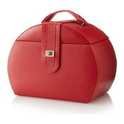 Morelle - Diana Leather Purse Jewelry Box, Poppy Red. - Soft leather and a sleek buckle closure define this feminine, rounded, purse style jewelry box. Convenient top compartment with its many sections and three drawers are designed to store rings, bracelets and other jewelry accessories in an organized fashion. Handy, removable travel case which conveniently slips into your handbag when you're on the go, features a ring roll, earring slots, a pocket (and a mirror). The mirrored lid craftily conceals additional storage for your necklaces and accessories. A lock and key clasp completes the appeal of this enchanting jewelry case. Available in our signature embossed grain, fine leather. in creamy white, black and rich red.