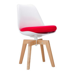 Tongue-and-Cheek Axis Chair - This futuristic revolving chair makes great seating for a retro-modern kitchen. Fashioned from polypropylene, beech wood, and featuring a crimson, cashmere blend cushion, the Tongue-and-Cheek Axis Chair will have you salivating for a good time.