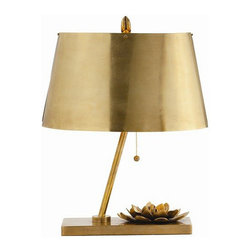 Arteriors Home - Arteriors Home Corsage Vintage Brass Table Lamp - Arteriors Home DK49401 - Arteriors Home DK49401 - The Corsage Vintage Brass Table Lamp would make a stunning, artistic addition to any home or office space. Deceptively simple, with an understated elegance; the simplest form of a lamp - base, neck and shade - is dressed up with a timeless accessory, the corsage.Designer: Laura Kirar