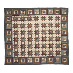 Patch Quilts - Cottage Star Queen Quilt - -Constructed of 100% Cotton  -Machine washable; gentle dry  -Made in India Patch Quilts - QQCTSR