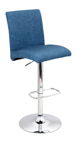"Lumisource - Tintori Barstool, Blue - Overall: 20.5"" L x 16.25"" W x 40"" to 44.75"" H (Seat Height: 27.5"" to 32.25"") (Backrest: 14.5"" H) (Seat: 16.25"" L x 16.25"" W) (Top of seat to footrest: 17"")"