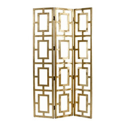 """Arteriors Home - Guilded Wood Open-Work Screen - The Guilded Open-Work Gold Wood Screen by Arteriors is for the most glamorous of clientele. Staggered in a corner of contemporary living space, or used as a divider in your glammed-out bedroom, this screen is high style! (ART) 84"""" high x 48"""" wide"""