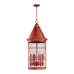 Kathy Kuo Home - Conical Red Bird Cage 6 Light Entryway Chandelier - Let your imagination soar with the bird cage chandelier.  Perched high above a dining table or entryway, this bird cage inspired fixture are sure to satisfy any flights of fancy.