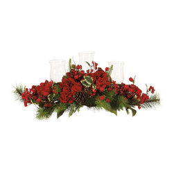 Nearly Natural - Nearly Natural Hydrangea Holiday Candelabrum - This beautiful red hydrangea candle holder is perfect as a festive centerpiece for your dining table. Nestled amongst the bold hydrangeas are three glass hurricane candle holders, ready to brighten your holiday meal. Holly leaves, evergreen twigs, berries, pinecones complete this item making for a lovely decorative display for your home. Light all three candles and enjoy this beautiful centerpiece!