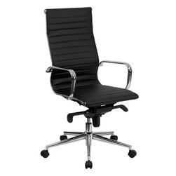 Flash Furniture - Flash Furniture High Back Black Ribbed Upholstered Leather Office Chair - This elegant office chair will add an upscale appearance to your office. The comfort molded seat has built-in lumbar support and features a locking tilt mechanism for a mid-pivot knee tilt. This chair features dual paddle controls to easily adjust your chair and an integrated bar in the back to keep your jacket within reach. If you're looking for a modern office chair that provides a sleek look, then the Ribbed Upholstered Leather Office chair by Flash Furniture delivers. [BT-9826H-BK-GG]