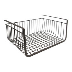 "InterDesign York Storage Bin, Undershelf Basket, Bronze - Under-shelf baskets are great for winter. They can be easily (and temporarily, if needed) added to make use of otherwise ""wasted"" space."