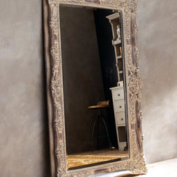 """""""Antique French"""" Floor Mirror - Get the look of a French antique without the price.  This large mirror has been heavily distressed, giving it an aged, antique appearance.41""""W x 5""""D x 68""""T. Imported."""