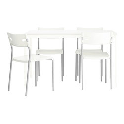 Lisa Norinder/Johanna Jelinek - MELLTORP/LAVER Table and 4 chairs - Table and 4 chairs, white, silver color