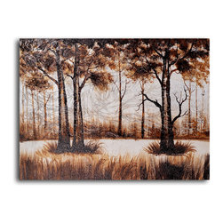 """My Art Outlet - Hand Painted """"Trees in sombre wood"""" Oil Painting - Size: 24"""" x 32"""" (24"""" x 32""""). Enjoy a 100% Hand Painted Wall Art made with oil paints on canvas stretched over a 1"""" thick wooden frame. The painting is gallery wrapped and ready to hang out of the box. A very stylish addition to any room that is sure to get the attention of guests."""