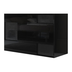 Rossetto - Rossetto Nightfly Dresser in Black - Rossetto - Dressers - T412400000028 - Style and elegance: the top drawer of the dresser has a bottom panel lined with a black crocodile finish just like the entire frame of the mirror.