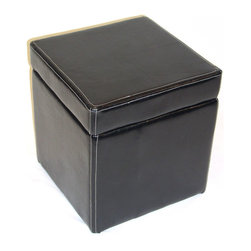 4D Concepts - 4D Concepts Faux Leather Box Ottoman w/ Lift Top in Black - This beautifully made ottoman is an attractive addition for any room.  The rich black faux leather finish adds to the style of this unit.  The faux leather top opens to a large storage compartment which is great for storing those additional toys, books or whatever your needs.   Constructed of a wood frame and faux leather finish.  Clean with a dry non abrasive cloth.  No assembly required.