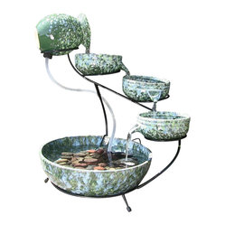 Decorative Green Cascade Solar Fountain