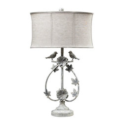 Dimond Lighting - Saint Louis Heights 1-Light Table Lamp in Antique White - Dimond Lighting 113-1134 Saint Louis Heights 1-Light Table Lamp in Antique White