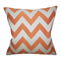 """The Pillow Collection - Diahann Chevron Pillow Orange - This square pillow is the answer to your styling needs. Decorated with a striking zigzag pattern in alternating shades of white and orange, this accent pillow offers a pop of color. Add visual interest to your living room, bedroom or lounge area with a few pieces of this 18"""" pillow. Expertly manufactured in the USA."""