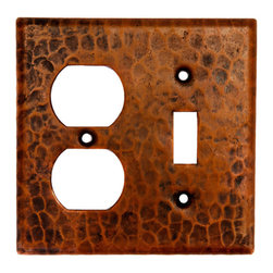 Premier Copper Products - Premier Copper Products SCOT Combo Switchplate - 2 Hole Outlet, Single Switch - Copper Combination Switchplate, 2 Hole Outlet and Single Toggle Switch.