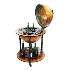 16th Century Italian Style 22-in. Diam. Floor Globe Bar