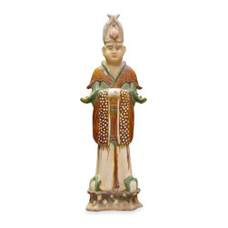 China Furniture and Arts - Tang Dynasty Statue *Officer* - Reproduction from the Tang Dynasty, adopting the famous Tang Tri-Color ceramic making techniques. Wearing the official suit, he was the higher ranking officer during Tang Dynasty. Imported from China.