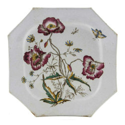 Lavish Shoestring - Consigned Octagonal Serving Plate with Flower Decoration - This is a vintage one-of-a-kind item.