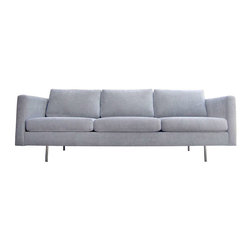 Seating - This three-seat sofa by Milo Baughman for Thayer Coggin features clean, tailored lines. The sofa is supported by four recessed cylindrical legs in chrome. It is newly reupholstered in grey chenille.