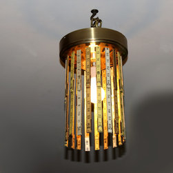 """Ruler Lamp 3 - Sections of folding carpenter rulers on a ceiling fan hub. Approx 8.5"""" dia x 14"""" H."""