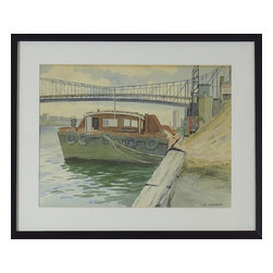 Consigned Original Watercolor Painting, Tug Boat Docked - Vintage original of watercolor painting. Watercolor of tug boat with bridge and city scene in the background.  Tug boat docked for the day. Subtle colors with great details.