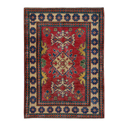 """ALRUG - Handmade Red Oriental Kazak Rug 3' 3"""" x 4' 6"""" (ft) - This Afghan Kazak design rug is hand-knotted with Wool on Cotton."""