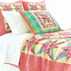 Pine Cone Hill - bright patchwork quilt - Enjoy the arts-and-crafts feel of our farmer's market bedding collection featuring charismatic bursts of color softened by traditional patterns. A bright and cheery mellange of vintage and modern with classic sensibility, this collection mixes soft florals and plush textures to lend a traditional look and feel to decorative pillows, shams and bed skirts. Charming bedspreads and throw blankets finish the bed with casual sophistication.