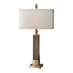 Uttermost Caecilia Amber Glass Table Lamp - Textured light amber glass accented with plated brushed brass details. Textured light amber glass accented with plated brushed details. The double rectangle hardback shades are a golden champagne inner shade with a warm champagne, silken sheer outer shade.