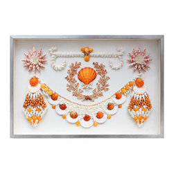 Kathy Kuo Home - Ibiza Coastal Beach Orange White Shell Grotto Wall Decor - by Karen Robertson - Reminiscent of the shell grottoes found in 18th and 19th century Europe, this framed piece of shell art invokes the charm and feminine wonder of the  sea and sea shells.  Traditional homes and nautical style spaces will find this a perfect compliment.  This item is made to order, please allow up to 3 weeks for production.