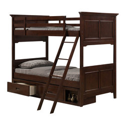 Homelegance - Homelegance Jordan Bunk Bed in Cherry - Twin over Full - The warm cherry finish of the Jordan collection draws the eye to this bunk bed. The panel headboards and footboards are highlighted by raised grid pattern. Separate storage-box and full-size extension kit are also available.